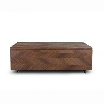 Contemporary wood veneer metal lift-top cocktail coffee table in chevron pattern