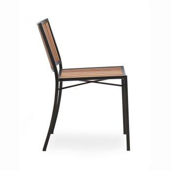 Wood slat and metal bistro side chair