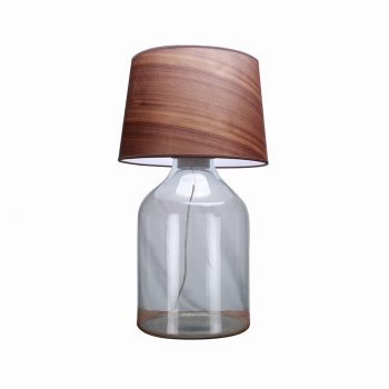 Modern glass wood and fabric shade fillable decorative table lamp