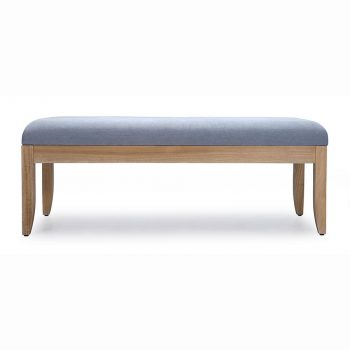 Upholstered solid wood bench with cushion seat in cotton fabric