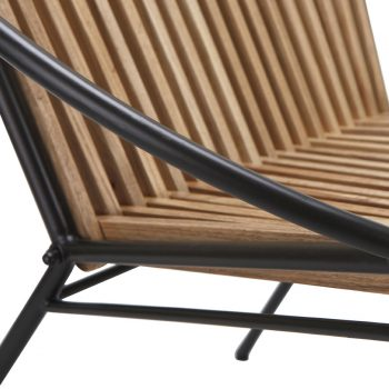 Wood slats and metal accent chair