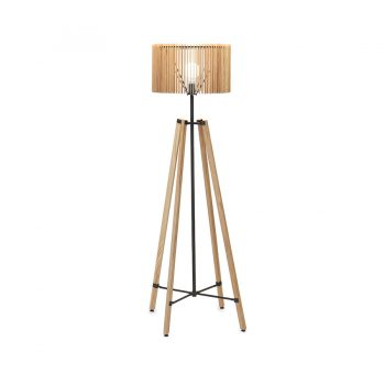 Mid-century modern metal and solid wood slatted rounded floor lamp wit tertapod base