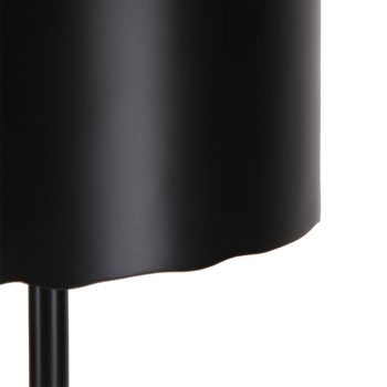 Industrial contemporary black iron metal round table lamp