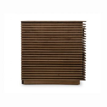 Solid wood slats bedside night table