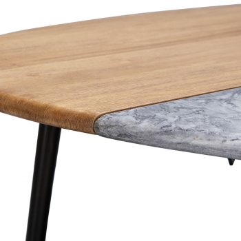 Solid wood marble and metal nesting coffee table
