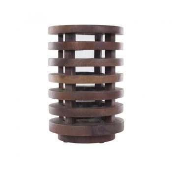 Slatted contemporary modern solid wood round lantern