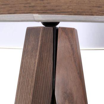 Contemporary modern solid wood metal and veneer shade floor lamp