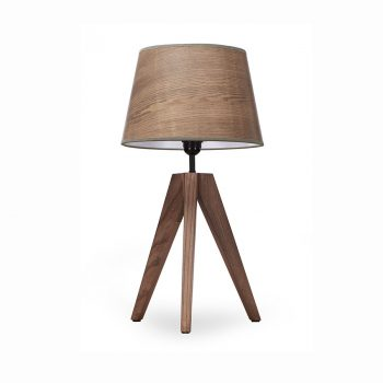 Contemporary modern solid wood metal and veneer shade table lamp