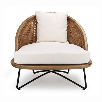Tropical metal and wood Solihiya occasional accent chair
