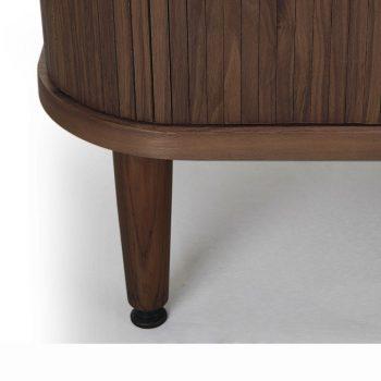 Contemporary Walnut wood veneer sliding tambour sideboard