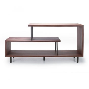 Geometric architectural Walnut wood veneer and metal open entertainment cabinet media center