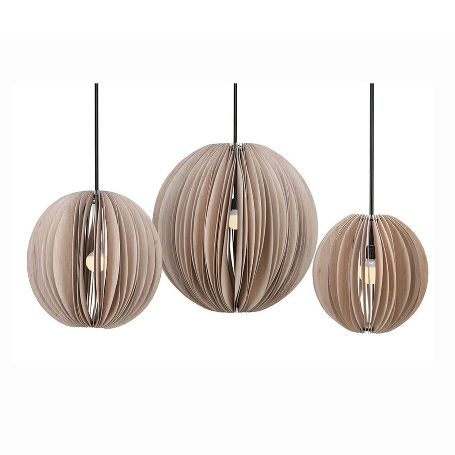 Conetmporary paper-think wood veneer rounded hanging lamp