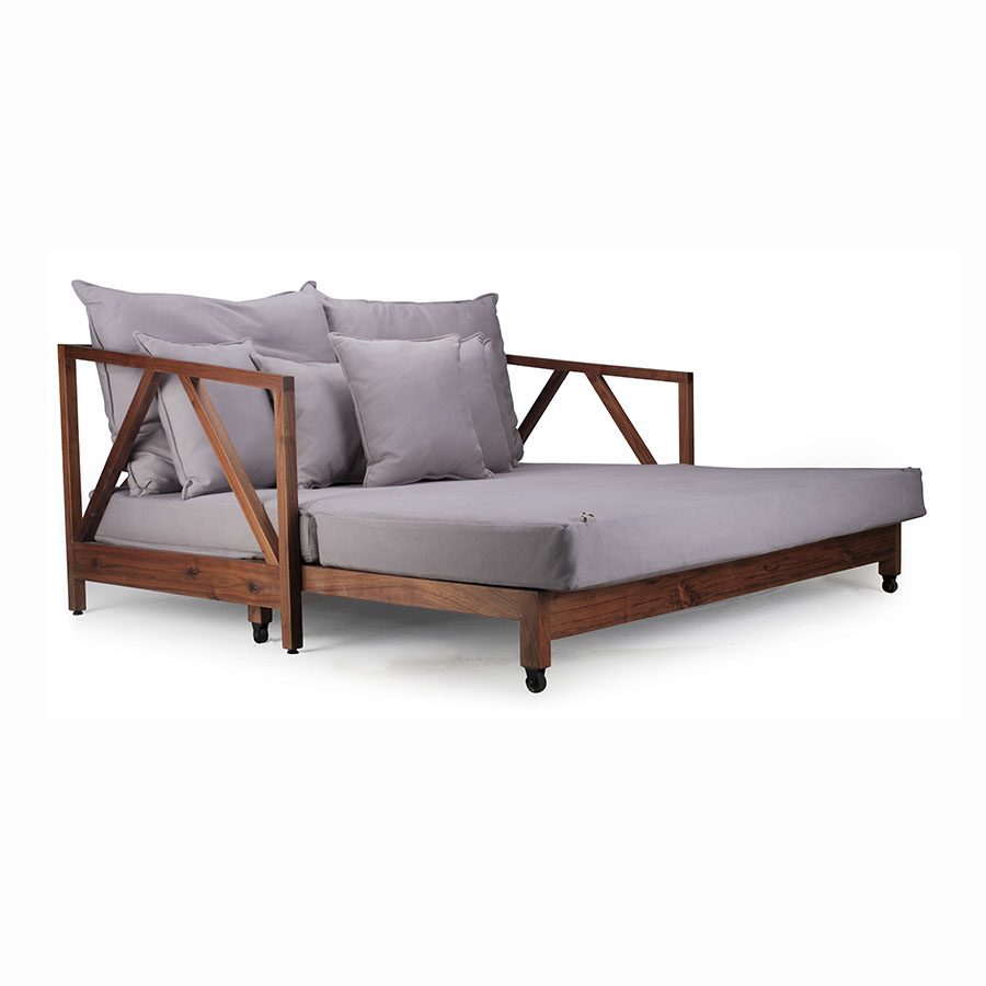 Modern contemporary solid wood extendable lounger sofabed