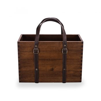 Traditional box joinery solid wood utility box with leather strap handle