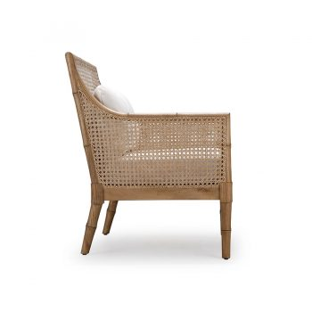 Tropical Filipino Solihinya wooden accent armchair with cushions