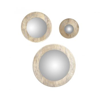 Modern contemporary hand turned wood round wall art mirror frame