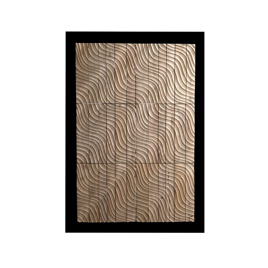 Handcarved solid wood wave optical illusion wall art with frame