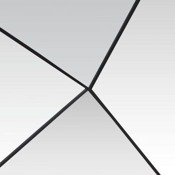 Modern avant-garde wood and metal geometric illusion matrix wall art mirror frame
