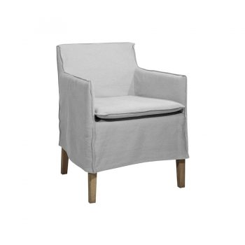 Solid wood dining chair with slip cover