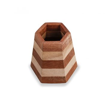 Hexagonal striped pyramid reclaimed wood contemporary pen holder