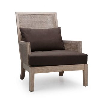 Tropical traditional mesh wooden lounge accent chair