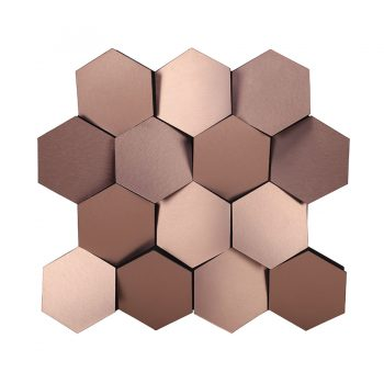 Industrial contemporary honeycomb beehive hexagonal copper wall art