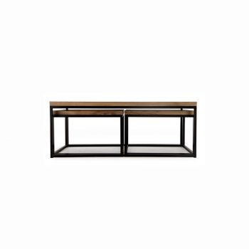 Industrial solid wood and metal square nesting coffee table