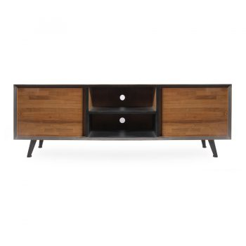 Contemporary geometric patterned solid wood entertainment cabinet media center