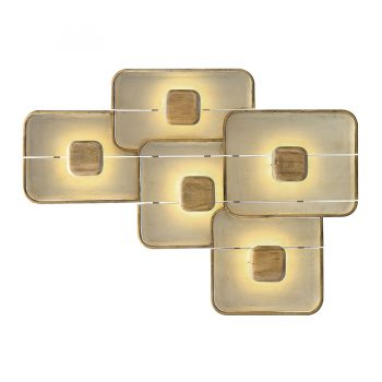 Contemporary solid wood layered plates geometric lighted wall art
