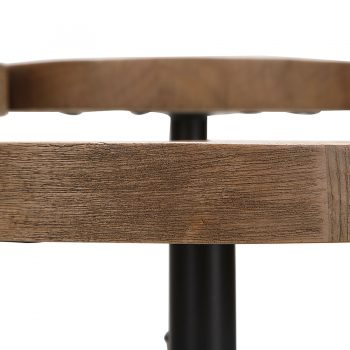 Solid wood and movable metal tray accent table