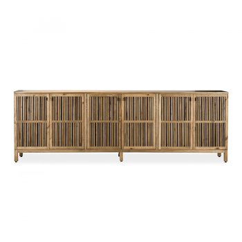 Traditional slatted solid wood buffet cabinet