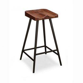 Modern industrial wood and metal stool with molded seat