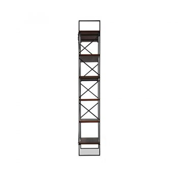 Contemporary industrial six layer solid wood and metal bookcase