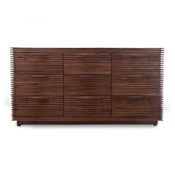 Contemporary solid wood slats nine drawer cabinet