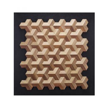 Geometric optical illusion solid wood wall art with black base board
