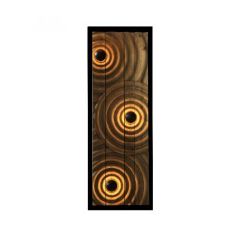 Contemporary handcarved solid wood 'ripples on a water surface' rectangular lighted wall art with black base board