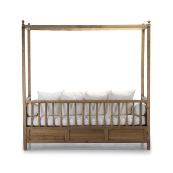 Tropical solid wood day bed upholstered with quality cotton fabric