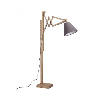 Geometric contemporary solid wood and fabric shade adjustable floor lamp with saw tooth scissor arm