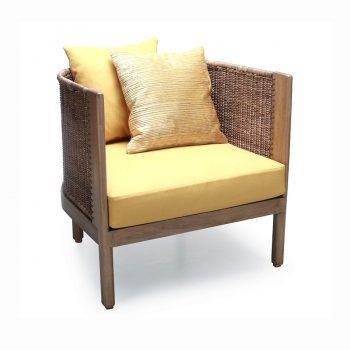 Tropical wooden wicker chair with cushioned seat
