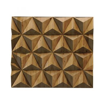 Handcarved contemporary geometric tetrahedral wall art