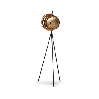 Contemporary functional art Walnut wood and metal adjustable floor lamp tripod base