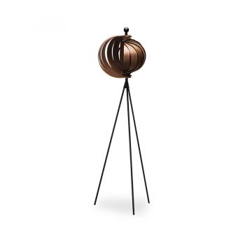 Contemporary functional art Walnut wood and metal adjustable floor lamp tripod base