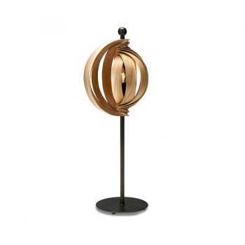 Contemporary functional art Walnut wood and metal table lamp