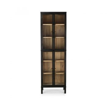 Mid-century modern solid wood glass and metal tall display cabinet
