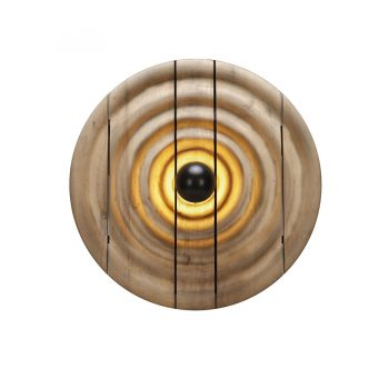 Contemporary handcarved solid wood ripple round lighted wall art