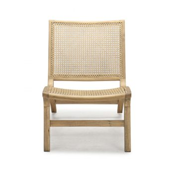 Traditional natural light brown wood Filipino Solihiya accent chair