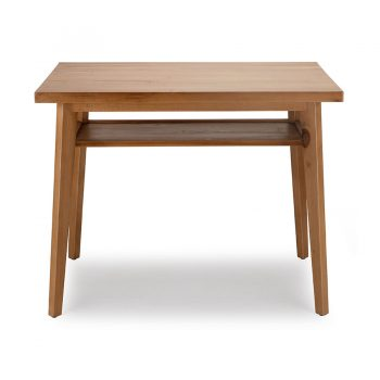 Contemporary solid wood study table with open storage