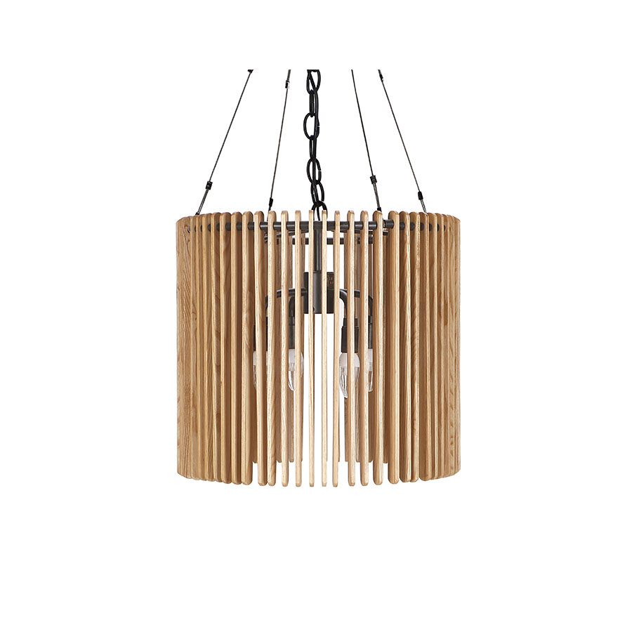 Contemporary solid wood chandelier with metal strip slatted wood framing