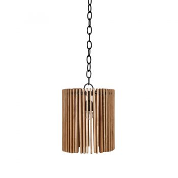 Contemporary solid wood pendant lamp with metal strip slatted wood framing