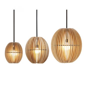 Mid-century spheroid rounded solid wood and metal chandelier